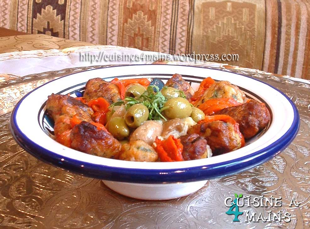 Tagine de boulettes de poisson de houriat el matbakh for Cuisine 4 mains