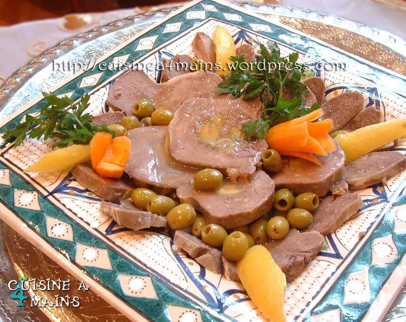Tajine de langue de veau farcie cuisine 4 mains - Cuisiner langue de boeuf ...