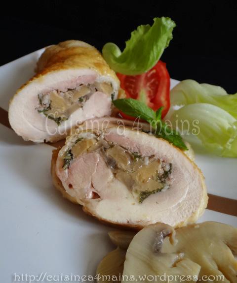 Cuisse de poulet farcie aux champignons2 -  cuisine à 4 mains
