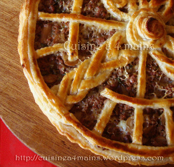tarte feuilletée champignons viande hachée2 - cuisineà 4 mains