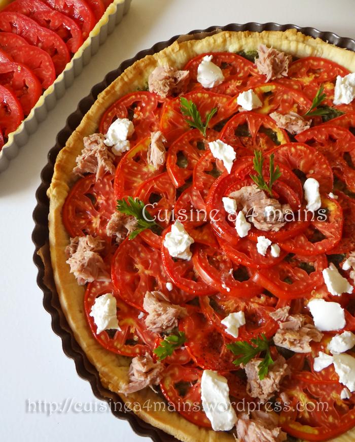 Tarte à la tomate et pesto1- cuisine à 4 mains